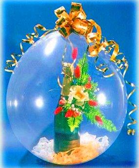 Как упаковать в шар подарок и шампанское