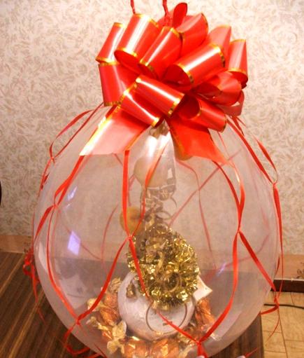 Как упаковать подарок в шар