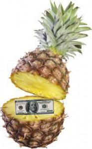 как оригинально подарить деньги в ананасе