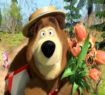 что подарить коллеге на день рождения - медведь с тюльпанами