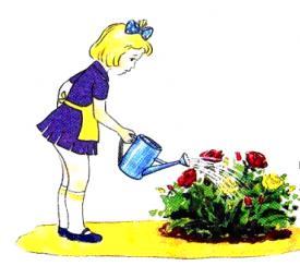 день самоуправления в школе - девочка поливает цветы