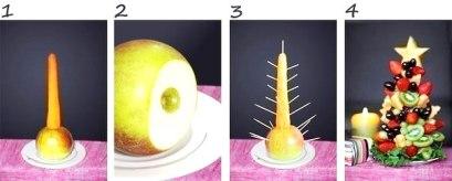 как сделать елку из фруктов - 2