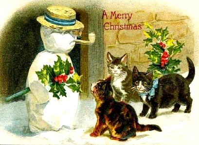 снеговик, кошки и  шуточные номинации на Новый год