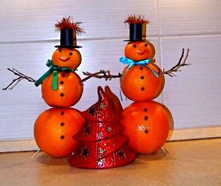 Фанты на Новый год. - сделать снеговика из апельсин