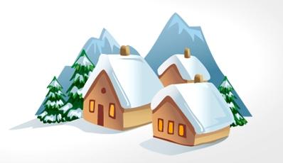 сценарий новогоднего корпоратива - ёлки и домики под снегом