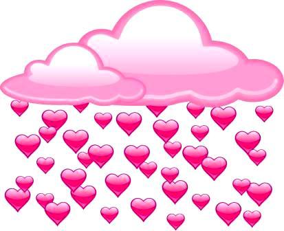облака из сердечек - шуточный прогноз погоды на свадьбу в ресторане