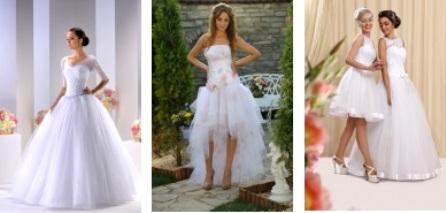 Короткие свадебные платья и длинные