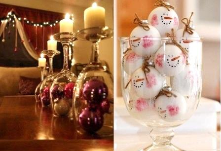 как украсить комнату на Новый год - елочные шары в бокалах