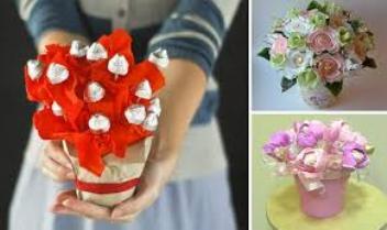 что подарить подруге на День рождения - букет из конфет