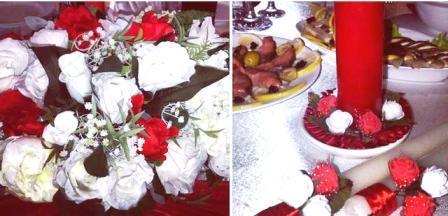 банкет на свадьбу - цветы и стол